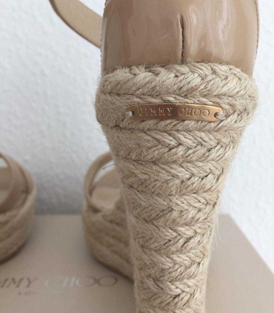 Jimmy Jimmy Jimmy Choo COMPENSES Porto Nude Velours 39,5 or Chaussures sandales d'été blogueurs Talons ae13c5