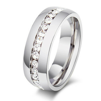 Sz4-15 CZ Couple Stainless Steel Wedding Ring Men/Women Titanium Engagement Band