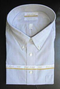 Roundtree-Yorke-Dress-Shirt-White-Mini-Check-Pattern-19-34-35-BIG-NWT