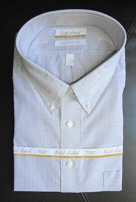 18.5-36/37 Big Nwt Aesthetic Appearance White Mini Check Pattern Roundtree Yorke Dress Shirt