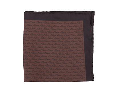 nuovo di zecca 317b4 5c7c7 Kiton Marrone e Nero Marca Nome Stampa Fazzoletto da Taschino in Seta | eBay