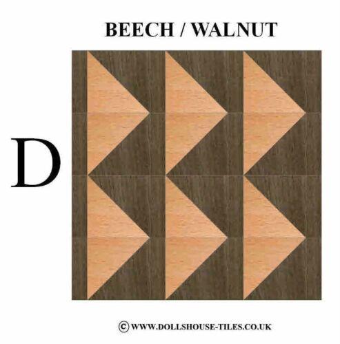 Dolls house miniatures, estampe flooring.wood étage tiles.wb 12 d.1 / 12ème échelle