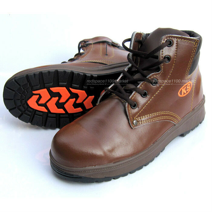 Mens KS Safety Work Boots Steel Toe Cap Zipper Size US6US10.5 Brown color
