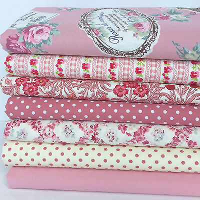 Dusky pink /& grey 6 piece fat quarter bundle 100/% cotton fabric for sewing