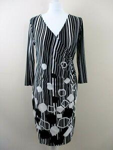 M-amp-Co-Petite-dress-size-14-stretch-faux-wrap-black-white-stripe-circles-crossover