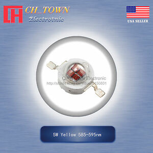 5Pcs-5-W-Watt-High-Power-Bright-Red-620-630-Presque-comme-neuf-DEL-SMD-Chip-COB-Lampe-Perles-Lights