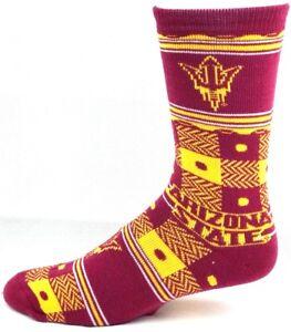 Arizona-State-Sun-Devils-NCAA-Burgundy-Yellow-Quilt-Plaid-Crew-Socks