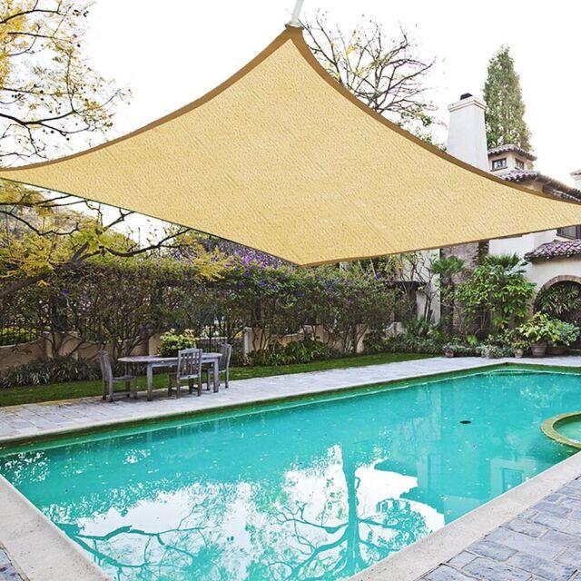18x18' Square Sun Shade Sail Patio Deck Beach Garden Outdoor Canopy Cover Uv