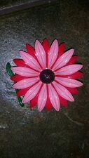 VINTAGE ENAMEL PINK/RED LARGE FLOWER BROOCH