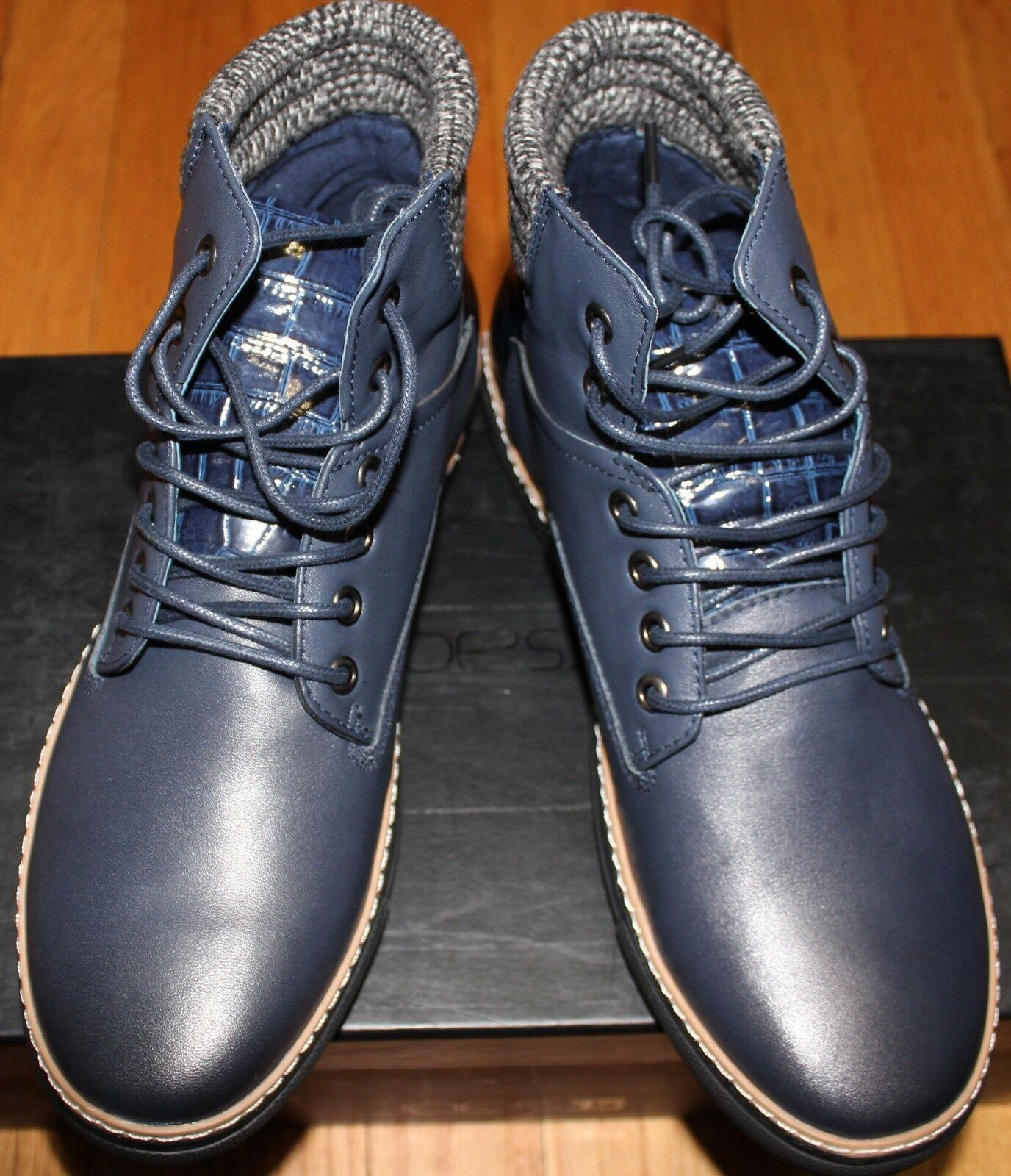 185 JOES JEANS BENNY NAVY LEATHER HIGH TOP SNEAKER SZ 8