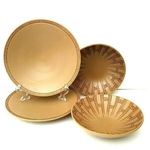 Pfaltzgraff-Matika-Granite-2-Salad-Plates-2-Cereal-Bowls-Brown-Embossed-Lines