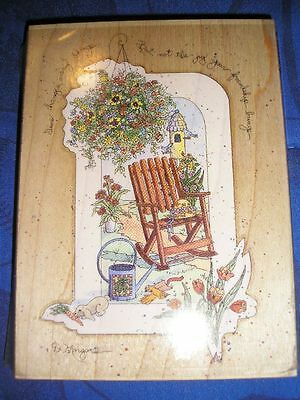 Wood Stamp D Morgan Garden rocking chair flowers time changes not FRIENDSHIP