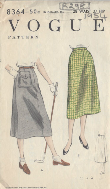 1950s Vintage Vogue-schnittmuster W28 \