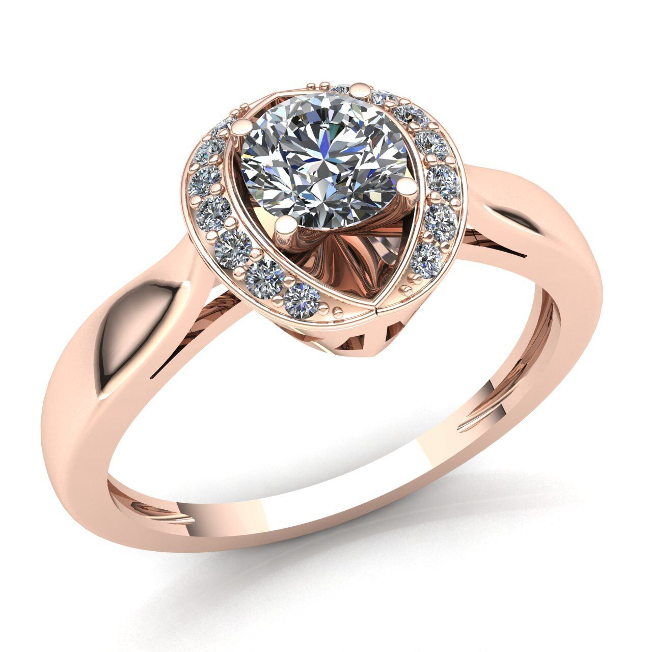 0.75ct Round Cut Diamond Ladies Fancy Guard Solitaire Engagement Ring 10K gold