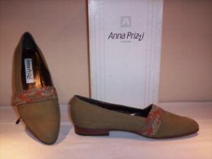Dettagli su Anna Prizzi scarpe basse ballerine mocassini casual donna pelle cuoio verdi 38,5