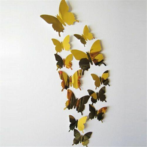 12 Pcs Wall Stickers Decal Butterflies 3D Mirror Wall Art Home Decors Decoration