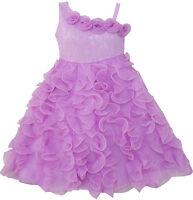 Girls Dress Purple Shoulder Fashion Rose Wedding Pageant Kids Boutique Size 6-10