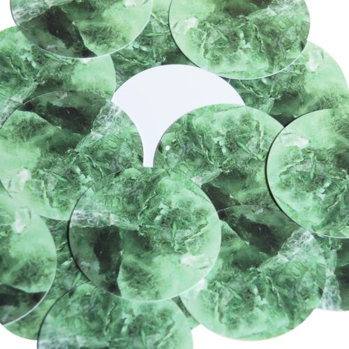 """Round Sequin 1.5/"""" Fluorite Green Gem Facetted Sparkle Opaque"""