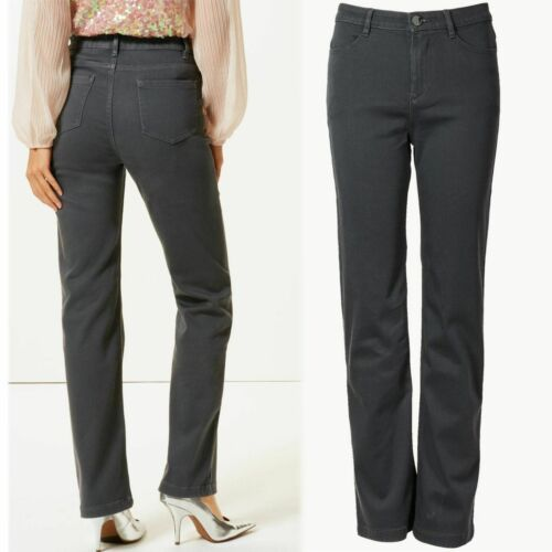 rrp £35 PER UNA Luxe Feel STRAIGHT LEG Roma Rise JEANS ~ Var Sizes ~ GREY