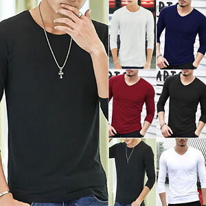 Mens-V-Neck-Tops-Tee-Shirt-Slim-Fit-Long-Sleeve-Plain-Casual-T-Shirt-Plus-Size