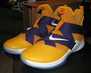 4c464035e351a Nike iD Lebron Soldier 11.5 XII Purple Gold Lakers Basketball Custom ...