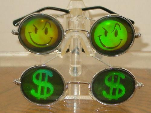 1 SET DOLLAR SIGN AND SMILEY FACE HOLOGRAM SUNGLASSES UV400 POKER GLASSES