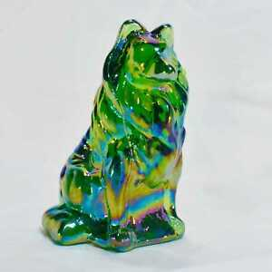Mosser-Glass-Collie-dog-figurine-Green-Carnival-collectible