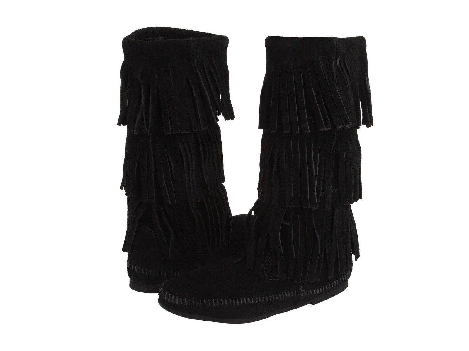 NIB MINNETONKA Calf Hi Hi Hi Black 3 Layer Triple Fringe BOOTS 7 New Celeb Favorite 9d05ce