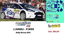 DECAL  1/43 -  FORD  FIESTA R5  - eSKY -  HABAJ - Rally  BARUM   2016