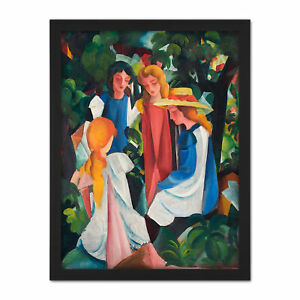 August-Macke-Four-Girls-Large-Framed-Art-Print
