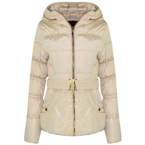Ladies New Womens Coat Jacket Padded Beige Colour Big New Belt High Fashion