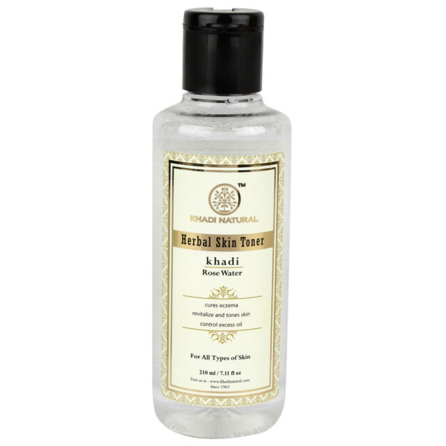 Khadi Natural pure Rose water Skin Toner 210ml Free Shipping