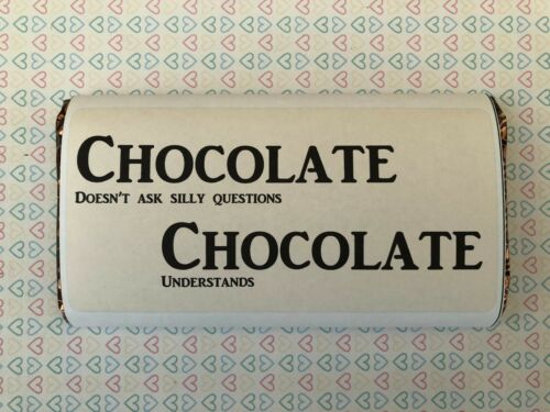 Chocolate Bar Wrapper Personalised Fits Galaxy 114 G valentine anniversaire Gift