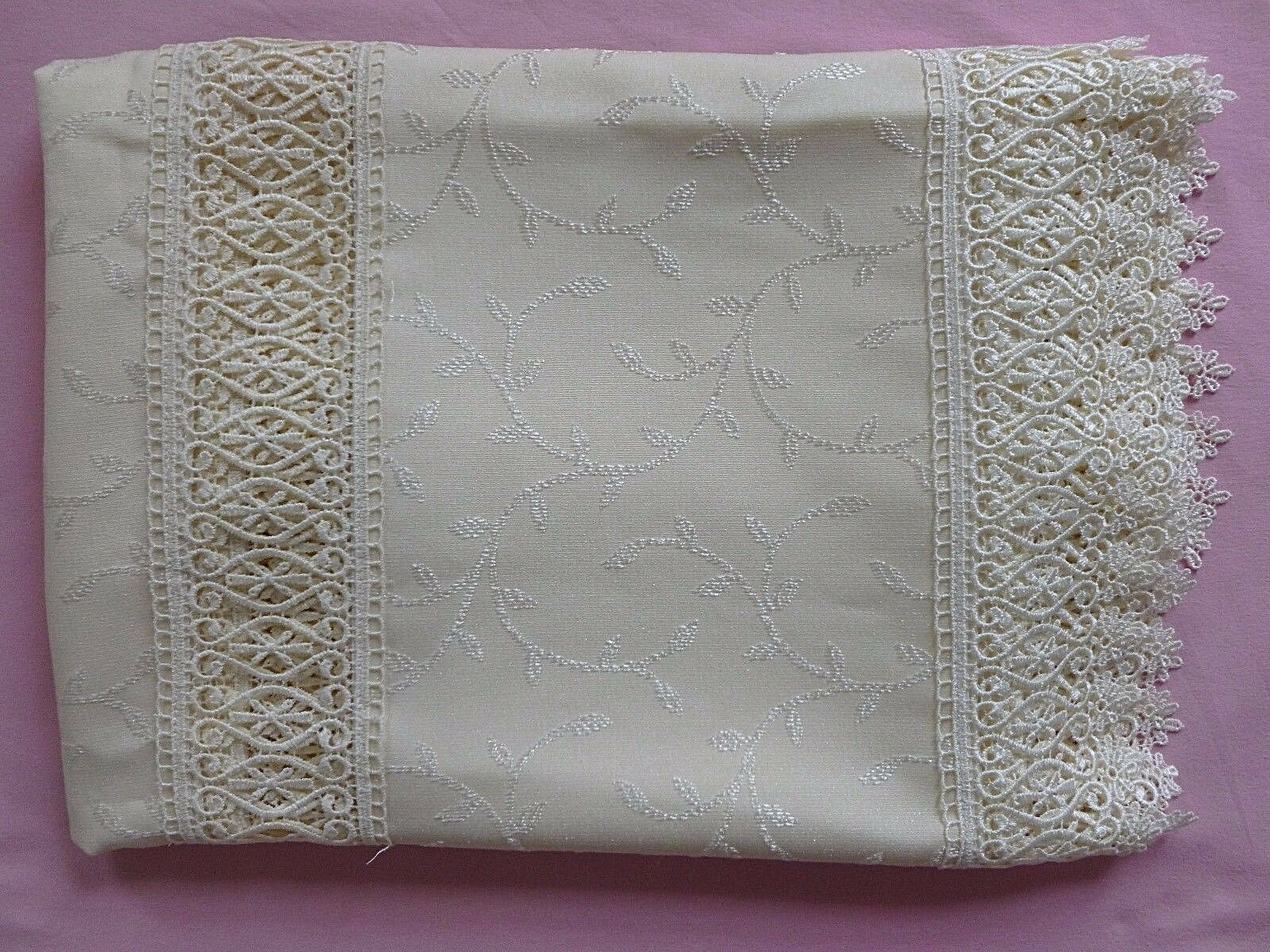 NEW TABE TROPIK LUXURY TABLECLOTH WIDE LACE INSERTS 160X220 CM 63 X86'' Cream