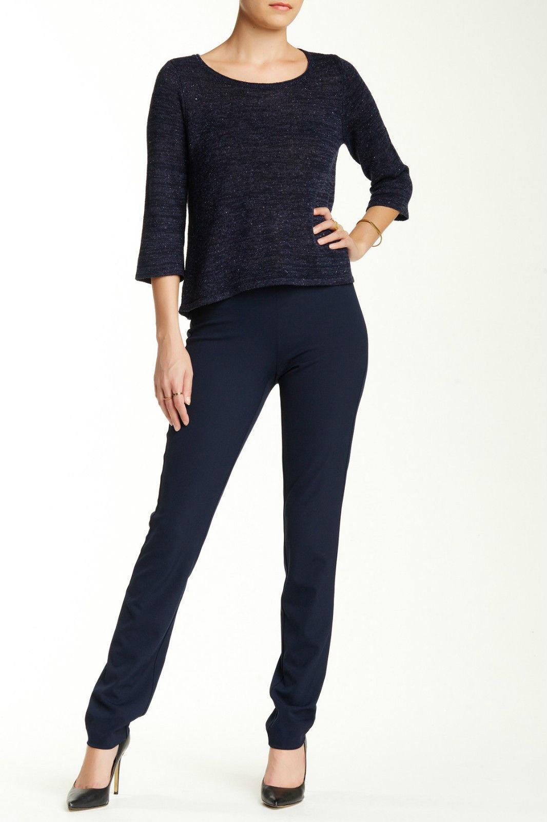 SZ 10 Eileen Fisher Evening bluee Wool Blend Side Zip Slim Pants  248
