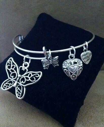 Extensible Argent Coloré Handmade Bangle Bracelet breloque papillon