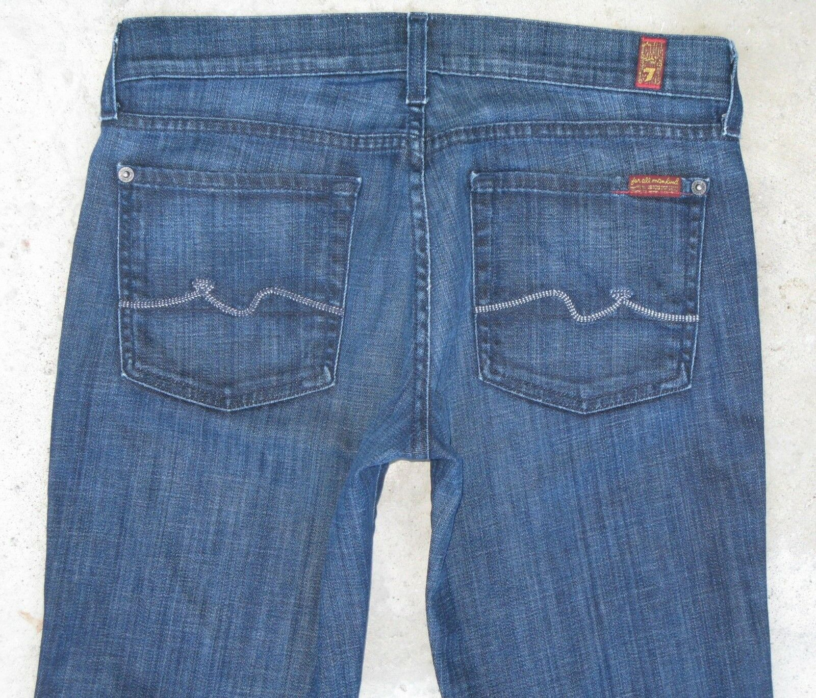 7 for all Mankind Lexie Petite Bootcut Jeans Sz 28 Low Waist Distressed L 29.25