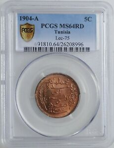 "Tunisia 5 centimes 1904, PCGS MS64RD, ""French protectorate (1890 - 1957)"""