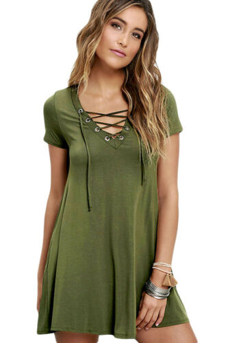 NEW LACE UP A LINE CASUAL T-SHIRT SKATER DRESS BLACK ARMY GREEN OATMEAL SZ 6-18