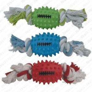 Palla pallina in vinile Rugby corda da masticare gioco per cani antistress 26cm