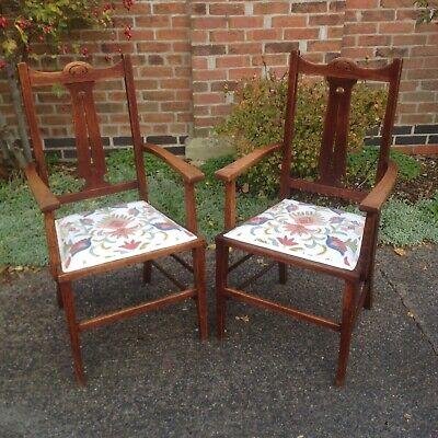 Crafts Art Nouveau Oak Carver Chairs