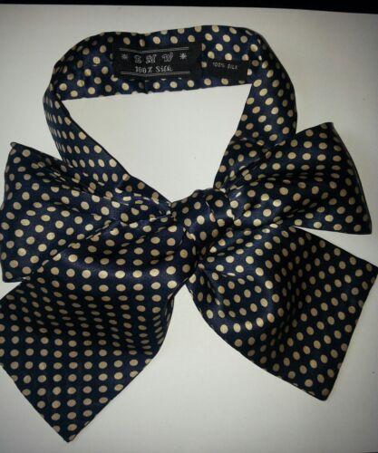 121x7,50 cm Seiden Krawattenschal  dunkelblau-beige doppelseitig