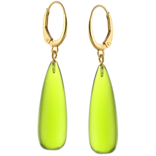 14k Yellow Gold Over Silver Natural Smooth Peridot Quartz Leverback Earrings