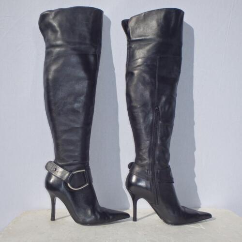Euro High Ladies Thigh 38 Stiletto Black Boots On 5 Pull Leather Uk Womens Dune qXxPvI0wW