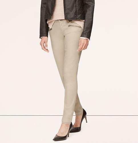 Ann Taylor LOFT Modern Skinny Moto Jeans Pants in Powder Tan Size 30 10 NWT
