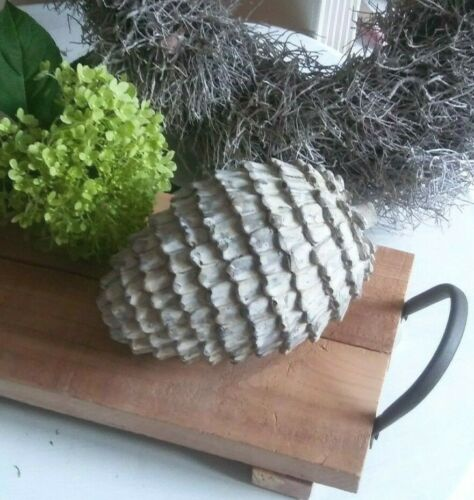 Herbst Großer Keramikzapfen Weihnachten Grau Zapfen Keramik Weiß gekälkt