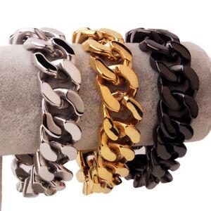 Men-Boy-Hip-Hop-Heavy-Wide-Stainless-Steel-Curb-Chain-Bracelet-20mm-width-8-5-034