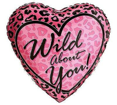 WILD ABOUT YOU Pink Cheetah Heart Sexy  Love Valentine's Day Crush  Balloon
