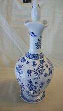 COALPORT BLUE AND WHITE FLOWER AND BIRDS, VASE OR WATER JAR WITH STOPPER