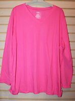 NEW WOMENS PLUS SIZE 4X BRIGHT PINK LONG SLEEVE WICKING ACTIVE TEE T SHIRT TOP